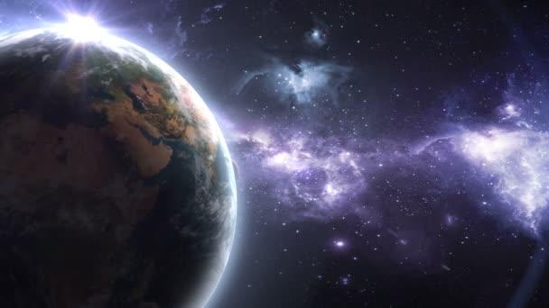 Erde Mars und Sonne vor dem Hintergrund eines schönen Nebels, 3D-Animation