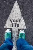 Fotografia scarpe verde sul tuo segno di vita