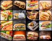 Velká skupina sendvičů v koláž