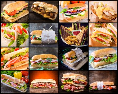 Large group of sandwiches in collage