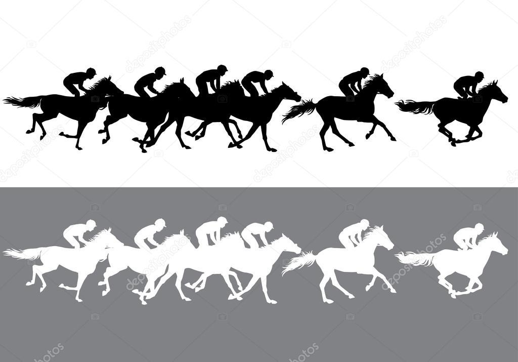 silueta de carreras de caballo — Archivo Imágenes Vectoriales ...