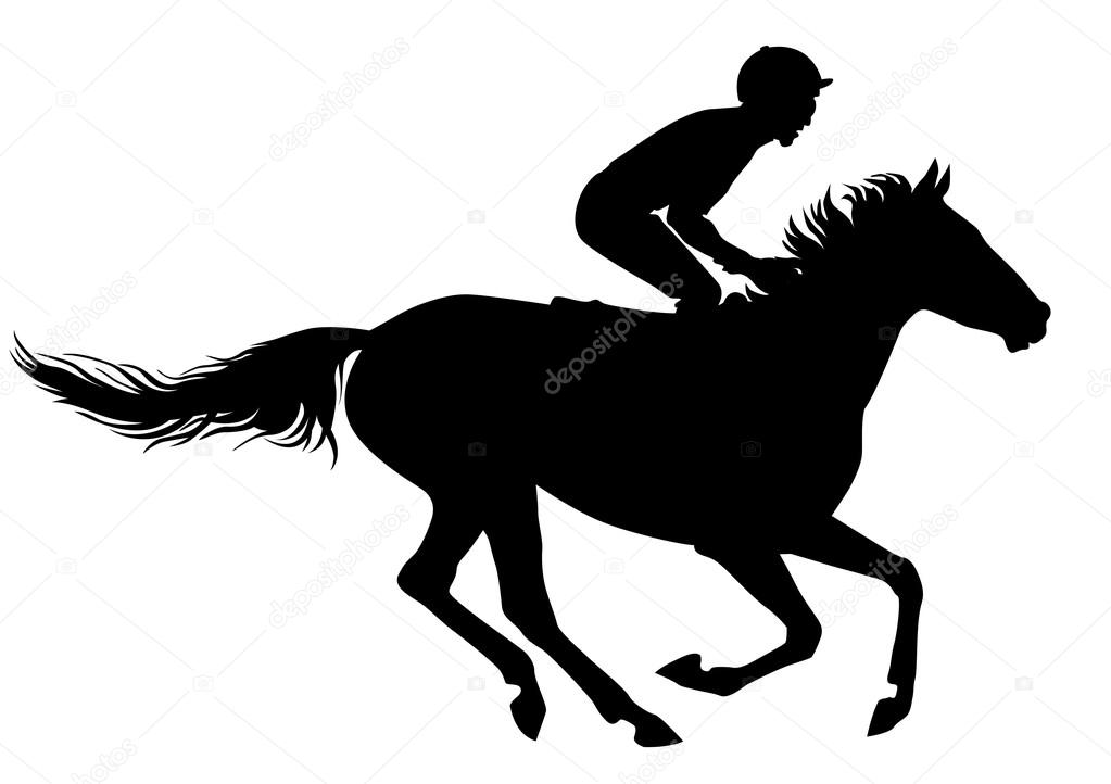 Jockey Riding A Horse Races Competition Silhouettes On White Background Vector By Niklson101