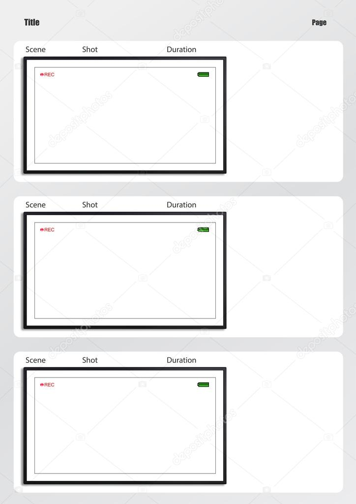 Camera Viewfinder Storyboard Template 3 Frame — Stock Photo