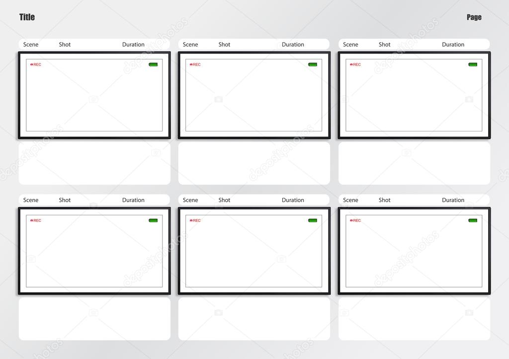 Camera Viewfinder Storyboard Template 6 Frame — Stock Photo
