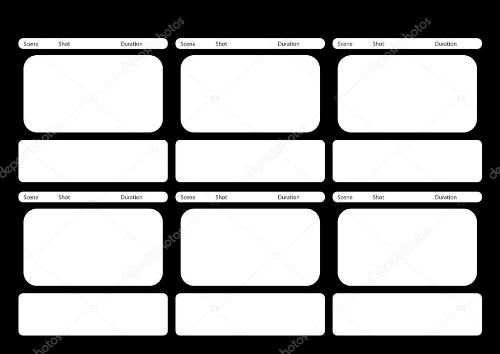 HDTV estilo clásico 6 marco storyboard plantilla negro — Archivo ...