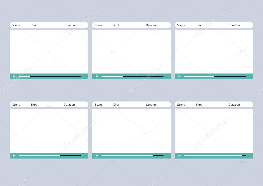 Video Player Simple  Frame Storyboard Template  Stock Vector