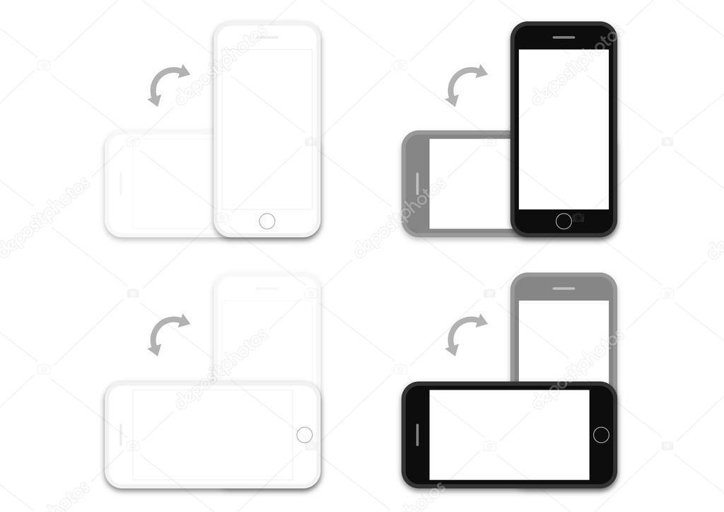 Telefon schwarz-weiß os Drehung Layout-Vorlage — Stockvektor ...