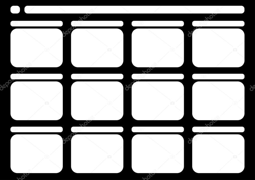 Televisión tradicional 12 marco storyboard negro — Archivo Imágenes ...