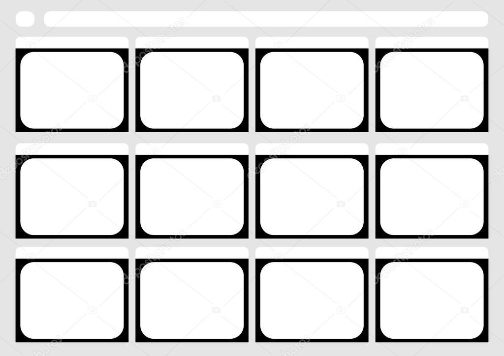 Traditionele televisie 12 frame storyboard of sjabloon — Stockvector ...