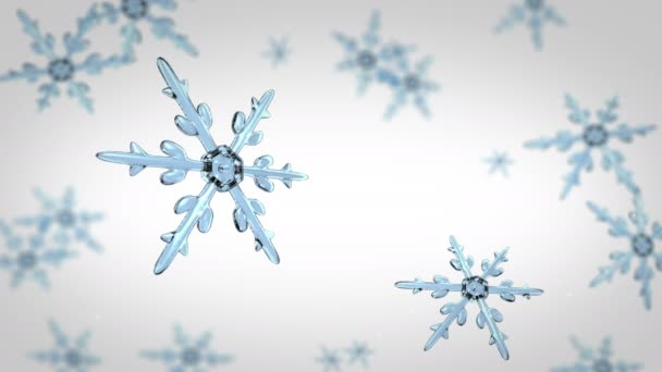 Schneeflocken fokussieren Hintergrund weiß 4k Video