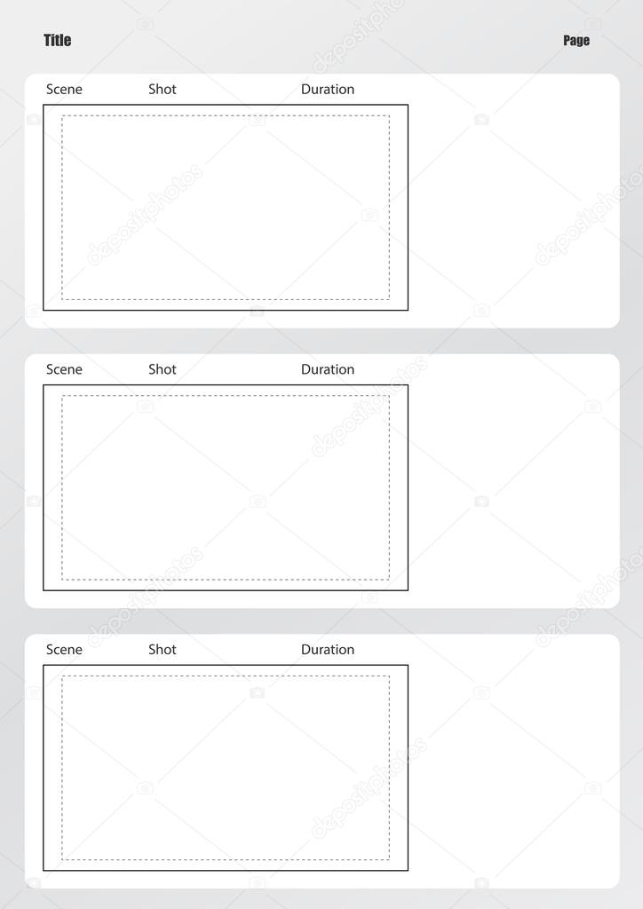 Professional Of Film Storyboard Template Vertical Stock Vector