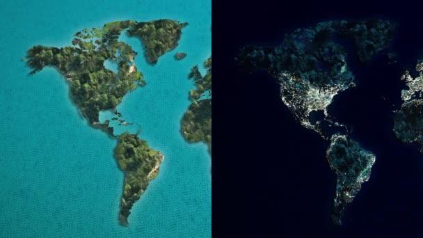 Világ éjjel Amerika Térkép