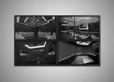 cctv monitor grey tone display for nightclub interior