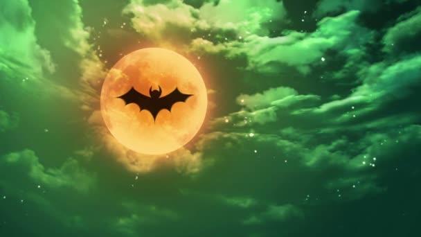 pipistrello Halloween luna verde orribile cielo