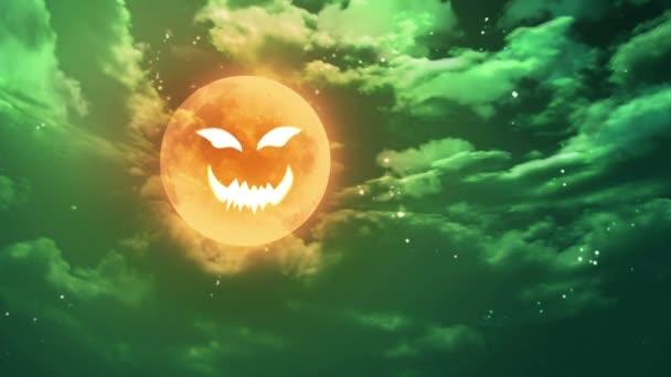 pumpkin face Halloween moon