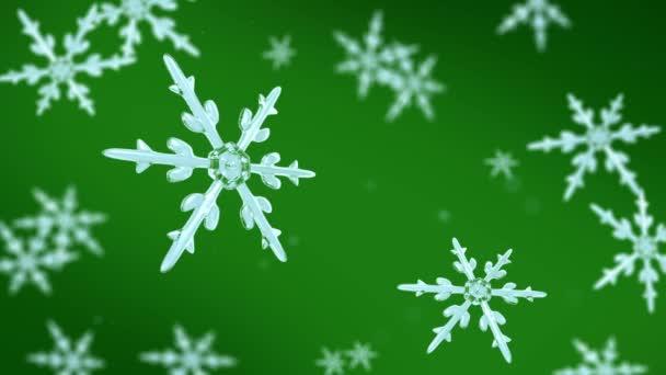 hópelyhek, amelynek középpontjában a zöld háttér
