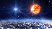 slunce s modrou planetu hvězda kříž
