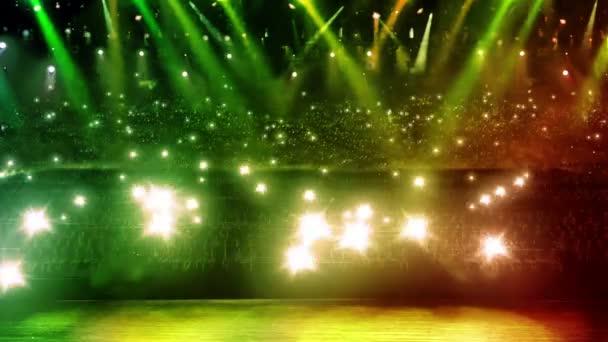 koncertní jeviště zelený reflektor