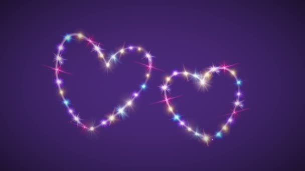 hearts color star background