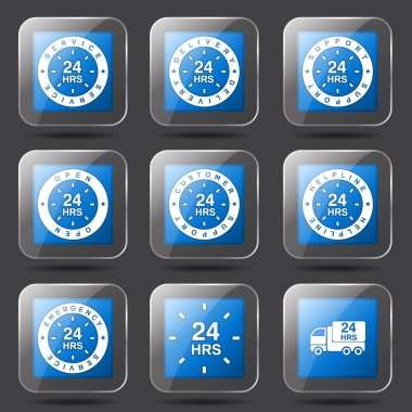 24 Hours Services Icon Set