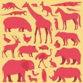 Fotografie Animals silhouette set