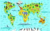 Fotografie Lustige Cartoon-Weltkarte
