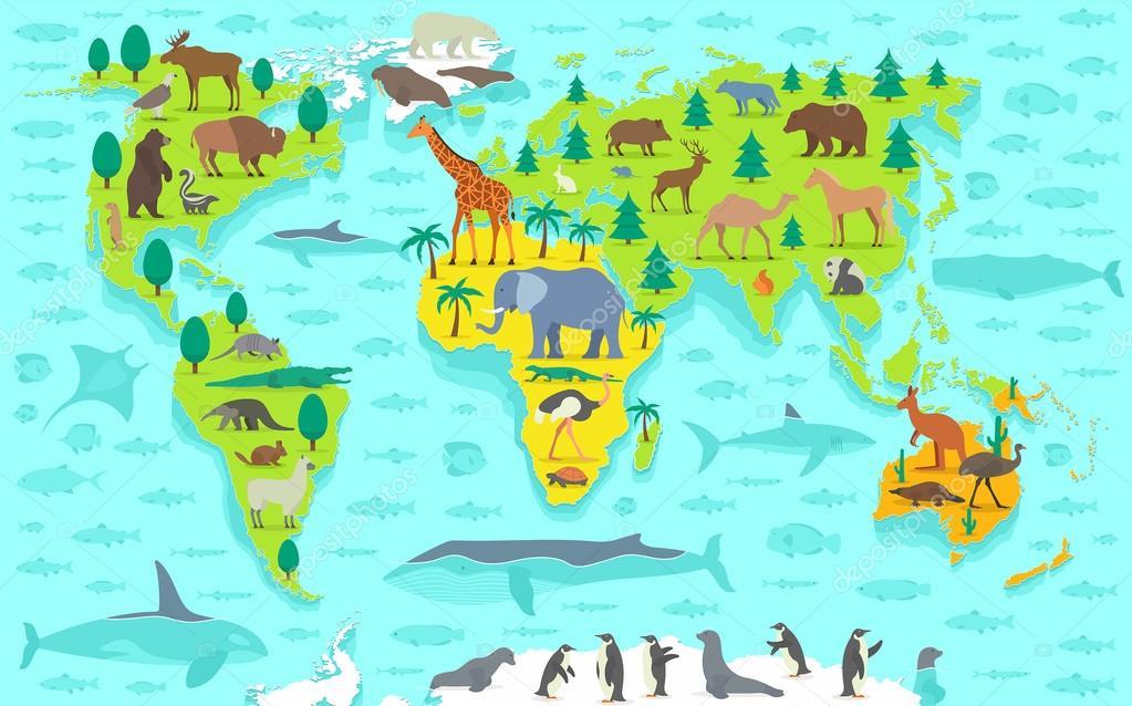 карта мира с картинками животных монеты станут