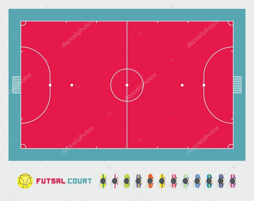Cancha de futsal vector de stock volykievgenii 59001951 for Pista de futbol sala medidas
