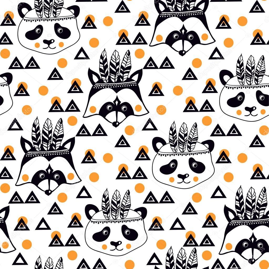 Patrón de niños lindos con los mapaches — Archivo Imágenes ...