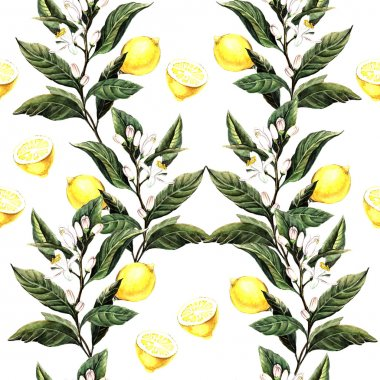 Watercolor pattern with lemons