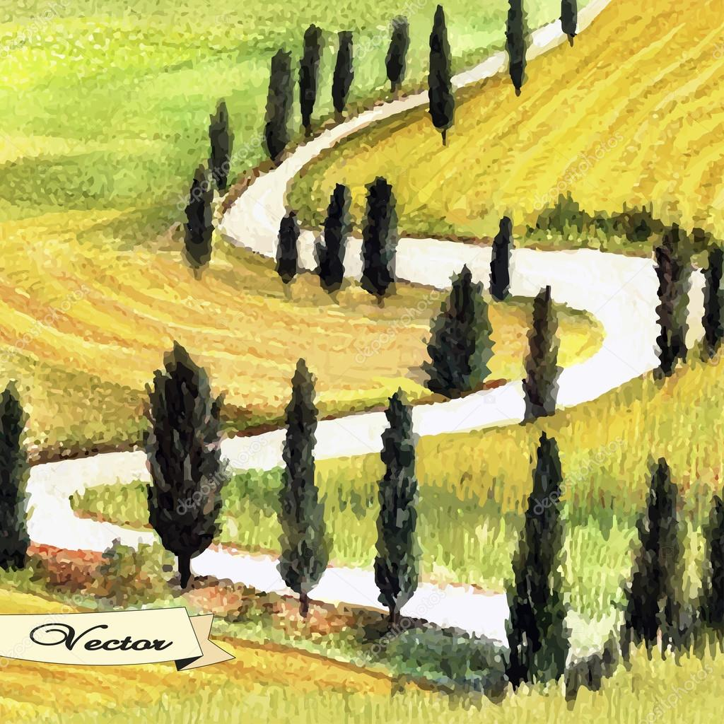 Watercolor Tuscan landscape
