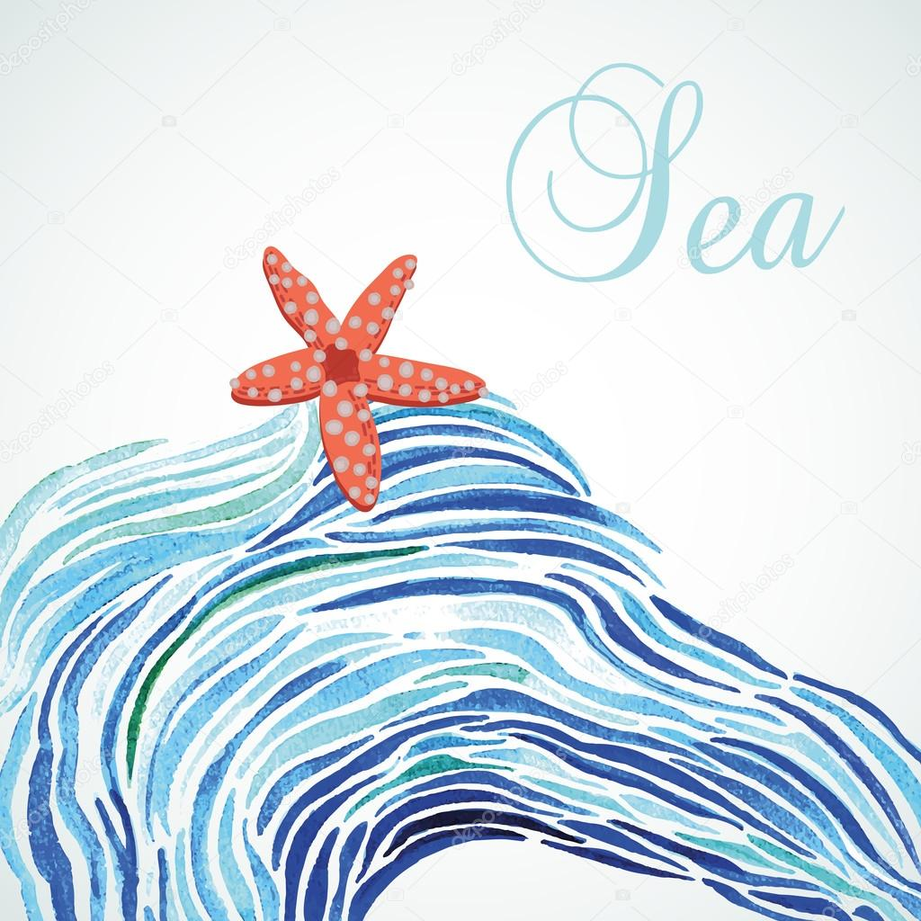 Abstract watercolor background sea with starfish