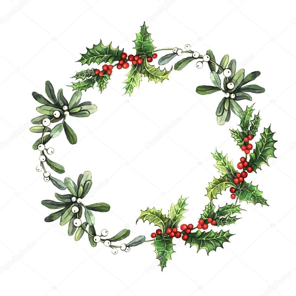 Watercolor Christmas Wreath Stock Photo C Ann Art 55075111