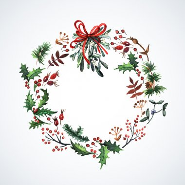 Wreath with Christmas plants.