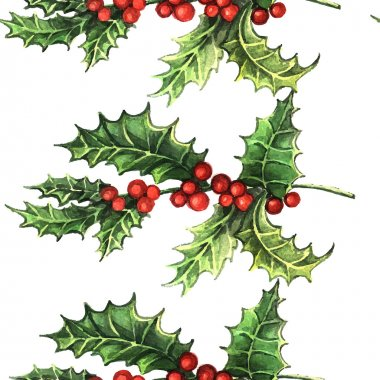 Watercolor Christmas Holly pattern