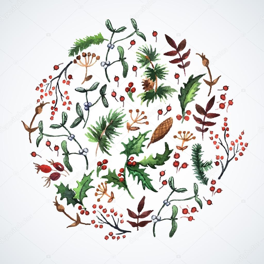 Kreis Weihnachten Pflanzen gemacht — Stockvektor © Ann_art #55711921