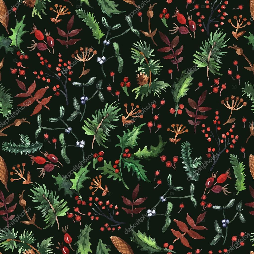 Wald-Muster mit Weihnachten Pflanzen — Stockvektor © Ann_art #55711929
