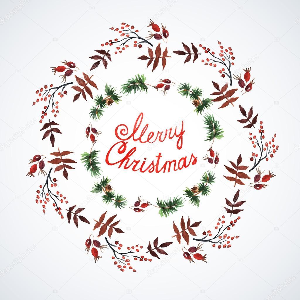 Dekorationen mit Weihnachten Pflanzen — Stockvektor © Ann_art #55711965