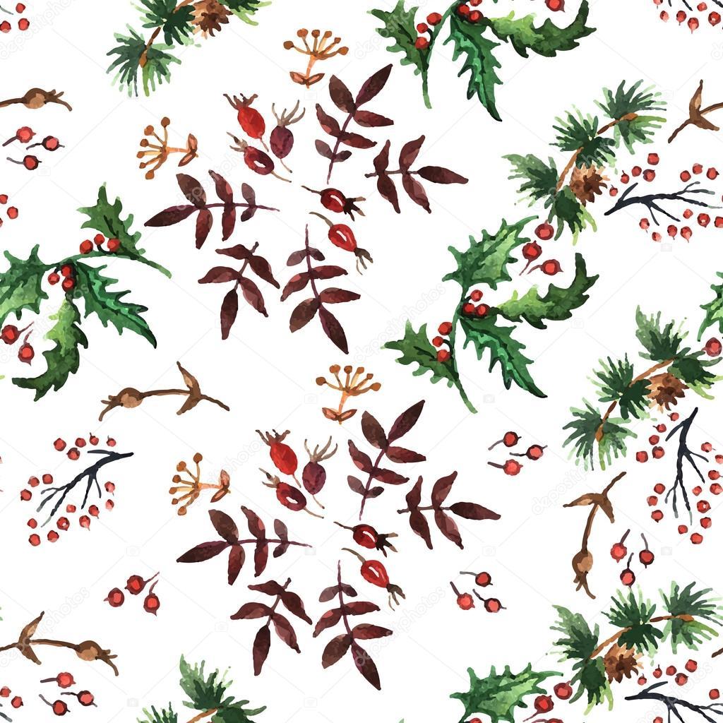 Weihnachten-Muster mit Pflanzen — Stockvektor © Ann_art #55711991