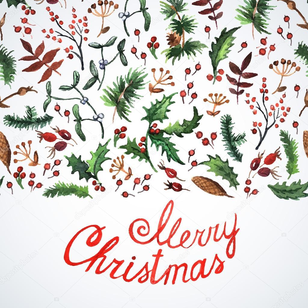 Karte mit Weihnachten Pflanzen — Stockvektor © Ann_art #55712039