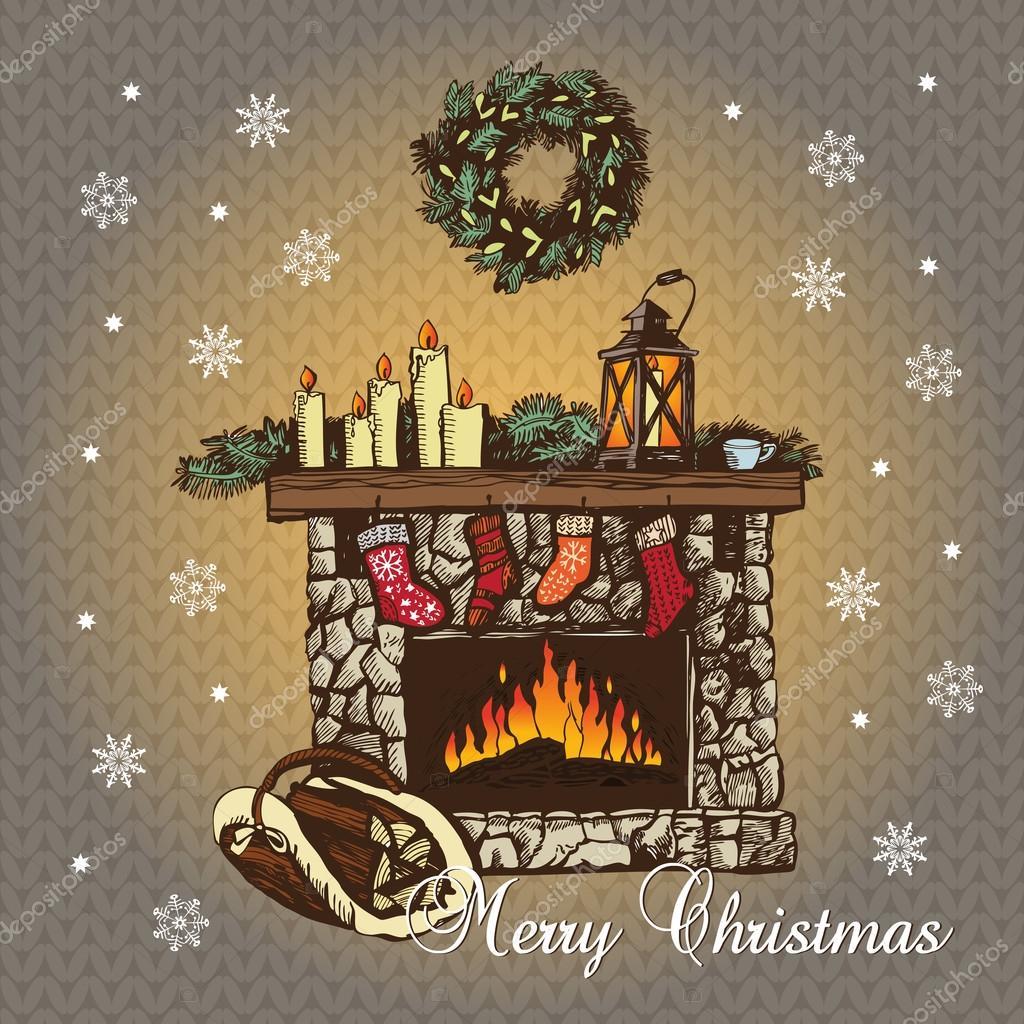 Gezellige Kerst Open Haard Stockvector C Ann Art 57357969