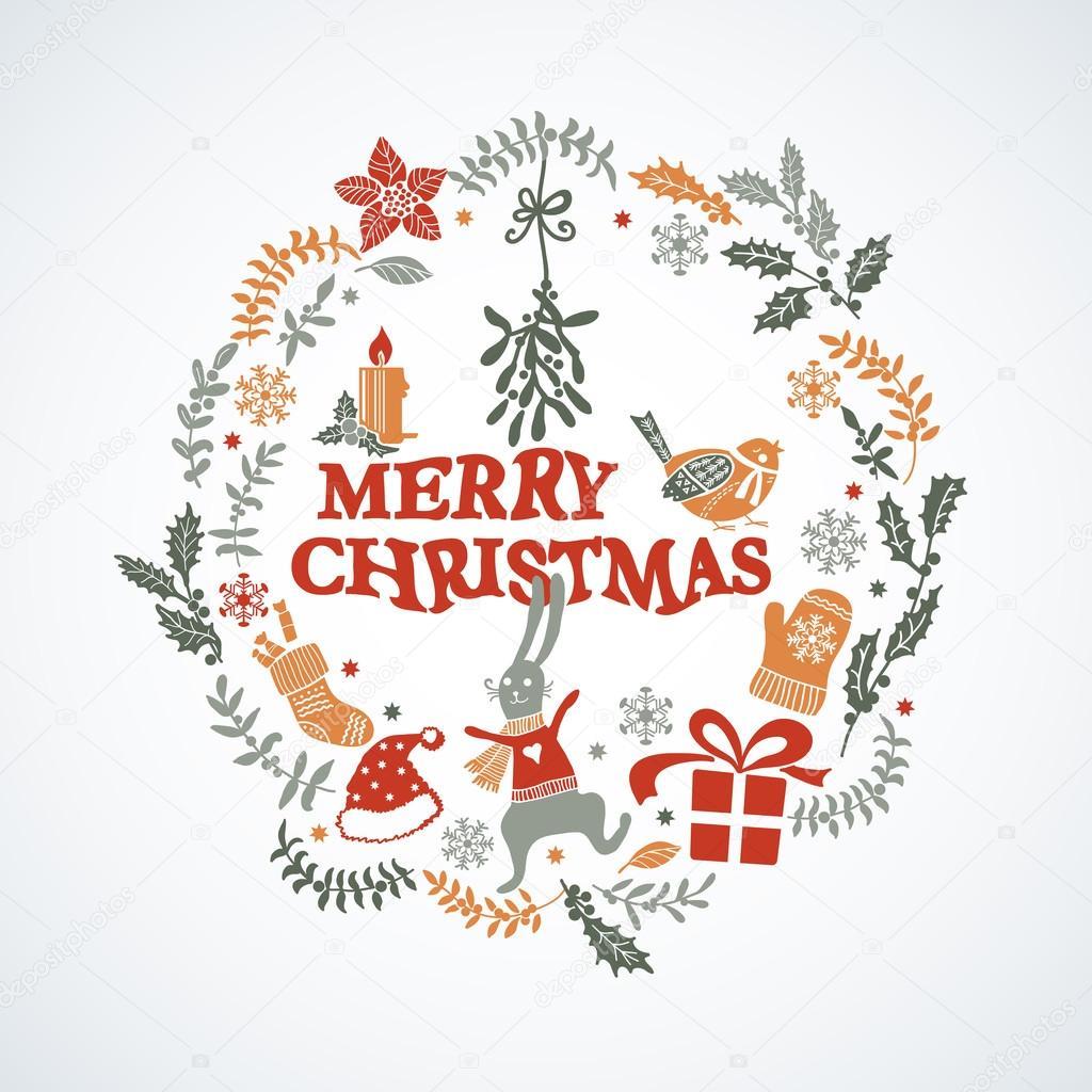 Christmas Doodle Greeting Card Stock Vector Annart 57358081