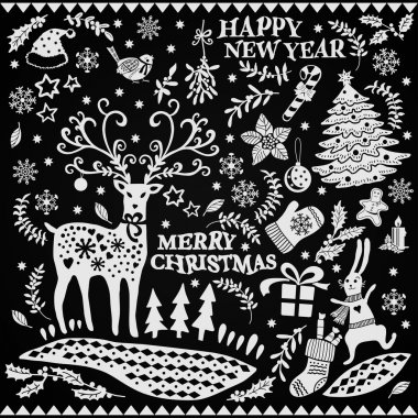Christmas set on a black background