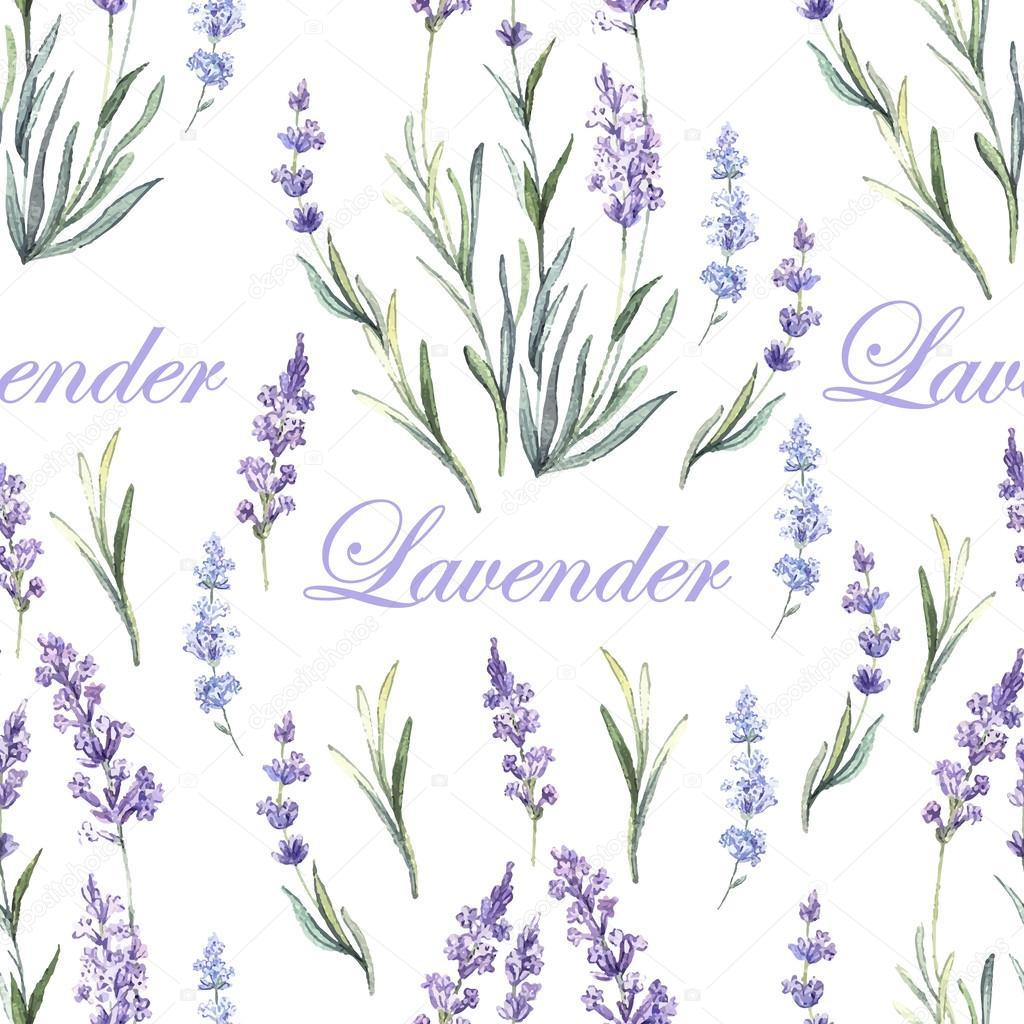 Watercolor lavender botanical pattern