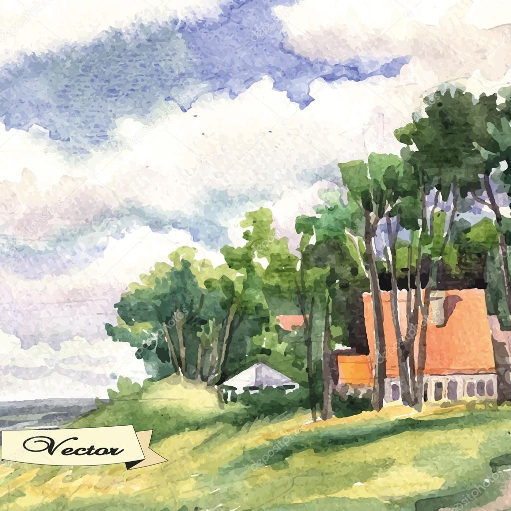 watercolor seaside landscape.