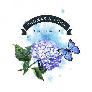 Card with blue hydrangea, butterfly and ribbon for text
