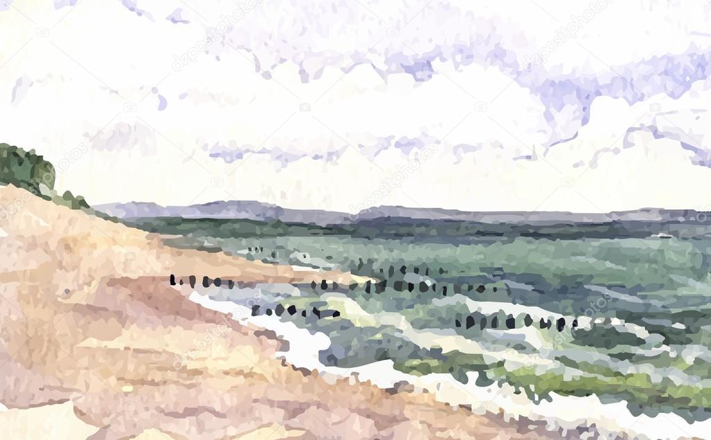 Watercolor seascape background