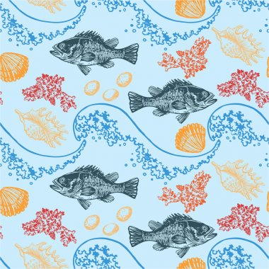 Color sea pattern with fish and shells.