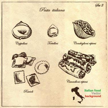 Italian pasta  in retro style.