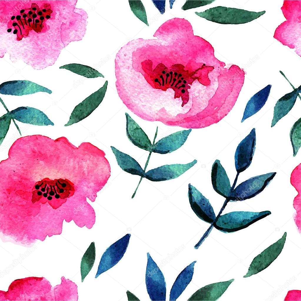 Seamless Abstract Watercolor Flower Stock Vector